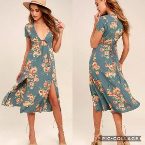 NEW Lulu's Dusty Sage Floral Midi Dress